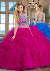 Exclusive Two Piece Ruffled Beaded Bodice Tulle Quinceanera Dress in Fuchsia
