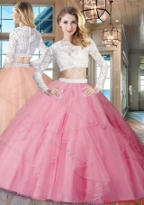 Simple See Through Scoop Zipper Up Quinceanera Dress in Rose Pink