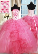 Affordable Beaded Strapless Hot Pink Quinceanera Dress with Appliques and Ruffles,Silhouette: Ball Gown