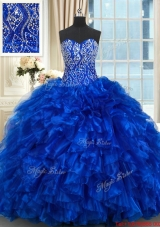 Best Selling Ruffled Beaded Bodice Royal Blue Quinceanera Dress with Brush Train,Silhouette: Ball Gown