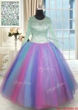 Perfect See Through Scoop Long Sleeves Rainbow Colored Quinceanera Dress in Tulle,Silhouette: Ball Gown
