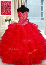 Popular Big Puffy Red Quinceanera Dress with Ruffled Layers and Beading,Silhouette: Ball Gown