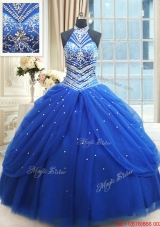 Top Seller Beaded Decorated Halter Top Royal Blue Quinceanera Dress in Tulle,Silhouette: Ball Gown