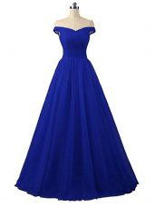 Sleeveless Floor Length Ruching Lace Up Prom Evening Gown with Royal Blue