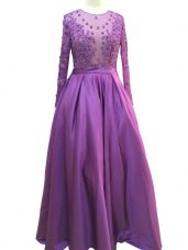 Captivating Purple Empire Scoop Long Sleeves Taffeta Floor Length Zipper Beading and Lace and Appliques Prom Evening Gown