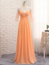 Orange Homecoming Dress Prom and Party and Military Ball with Lace and Appliques and Ruching Bateau Long Sleeves Zipper