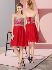 Sleeveless Knee Length Beading Lace Up Homecoming Dress with Red