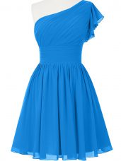 Cute Sleeveless Chiffon Mini Length Side Zipper Dress for Prom in Blue with Ruching