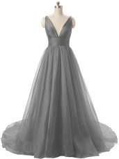 Noble Organza Sleeveless Prom Dresses Brush Train and Ruching