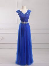 Smart Short Sleeves Tulle Floor Length Lace Up Prom Dress in Royal Blue with Beading and Lace and Appliques and Belt