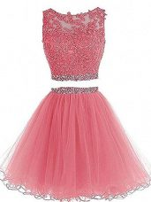Pink Tulle Zipper Scoop Sleeveless Mini Length Homecoming Dress Beading and Lace and Appliques