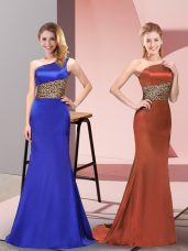 Royal Blue Column/Sheath Pattern Evening Dress Side Zipper Elastic Woven Satin Sleeveless Floor Length