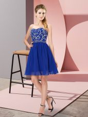 Clearance Mini Length Empire Sleeveless Royal Blue Evening Dress Lace Up