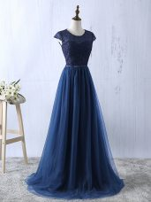 Fine Short Sleeves Lace and Appliques Zipper Prom Gown