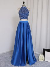 Dramatic Halter Top Sleeveless Prom Dress Floor Length Beading Royal Blue Elastic Woven Satin