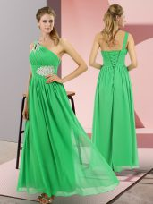 Green One Shoulder Lace Up Beading Homecoming Dress Sleeveless
