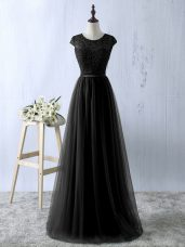 Popular Scoop Sleeveless Zipper Homecoming Dress Black Tulle