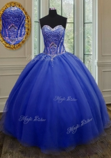 Low Price Floor Length Royal Blue 15th Birthday Dress Organza Sleeveless Beading and Belt