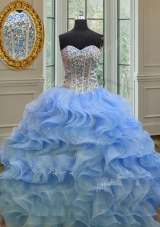Sleeveless Organza Floor Length Lace Up Sweet 16 Dress in Blue for with Beading and Ruffles