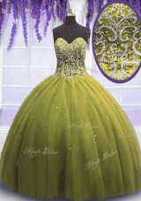 Trendy Beading and Appliques Quinceanera Gowns Olive Green Lace Up Sleeveless Floor Length