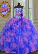 Floor Length Multi-color Ball Gown Prom Dress Organza Sleeveless Beading and Appliques and Ruffles and Sashes|ribbons and Hand Made Flower
