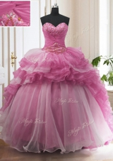 Ruffled With Train Rose Pink Ball Gown Prom Dress Sweetheart Sleeveless Sweep Train Lace Up