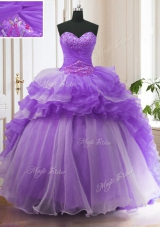 Top Selling Sweetheart Sleeveless 15 Quinceanera Dress With Train Sweep Train Beading and Ruffled Layers Lavender Organza