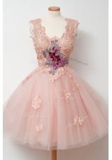 Square Sleeveless Knee Length Appliques and Embroidery Pink Tulle