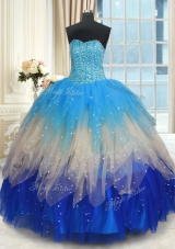 Vintage Multi-color Ball Gowns Beading and Ruffles Quinceanera Dresses Lace Up Tulle Sleeveless Floor Length