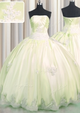 Latest Light Yellow Lace Up Sweet 16 Quinceanera Dress Beading and Appliques Sleeveless Floor Length