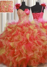 One Shoulder Handcrafted Flower Floor Length Ball Gowns Sleeveless Multi-color 15 Quinceanera Dress Lace Up