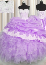 Pick Ups Floor Length Lilac Quinceanera Gowns Sweetheart Sleeveless Lace Up