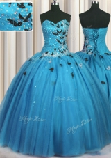 Adorable Baby Blue Lace Up Vestidos de Quinceanera Beading and Appliques Sleeveless Floor Length