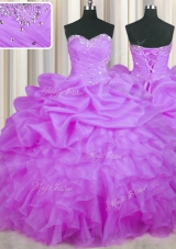 Purple Sleeveless Beading and Ruffles and Pick Ups Floor Length Quinceanera Gown