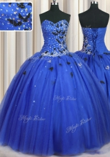 Royal Blue Ball Gowns Sweetheart Sleeveless Tulle Floor Length Lace Up Beading and Appliques 15 Quinceanera Dress