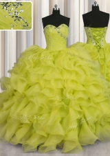 Pretty Floor Length Yellow Green Vestidos de Quinceanera Organza Sleeveless Beading and Ruffles