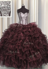 Visible Boning Floor Length Lace Up Quinceanera Dress Brown and In for Military Ball and Sweet 16 and Quinceanera with Ruffles and Sequins