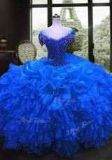 Free and Easy Royal Blue Quinceanera Gowns Military Ball and Sweet 16 and Quinceanera and For with Beading and Ruffles Sweetheart Cap Sleeves Lace Up