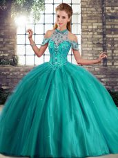 Halter Top Sleeveless Quinceanera Gowns Brush Train Beading Turquoise Tulle