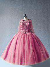 Cute Pink Lace Up Scoop Beading Sweet 16 Dresses Tulle Long Sleeves