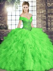 Beauteous Sleeveless Tulle Lace Up Quinceanera Gown for Military Ball and Sweet 16 and Quinceanera
