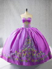 Extravagant Sleeveless Satin Lace Up Quinceanera Gowns in Lilac with Embroidery