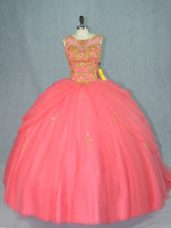 Watermelon Red Ball Gowns Scoop Sleeveless Tulle Brush Train Lace Up Beading Vestidos de Quinceanera