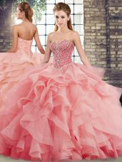 New Style Sweetheart Sleeveless Tulle Quince Ball Gowns Beading and Ruffles Brush Train Lace Up