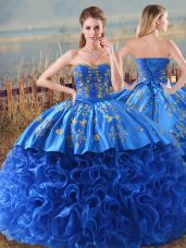 Flirting Royal Blue Lace Up Sweetheart Embroidery and Ruffles Quinceanera Dresses Fabric With Rolling Flowers Sleeveless Brush Train