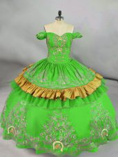 Fashionable Green Satin Lace Up Off The Shoulder Sleeveless Floor Length Quinceanera Dress Embroidery