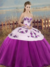White And Purple Sweet 16 Quinceanera Dress Military Ball and Sweet 16 and Quinceanera with Embroidery and Bowknot Sweetheart Sleeveless Lace Up
