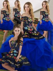 Fine Royal Blue Tulle Lace Up Off The Shoulder Sleeveless Floor Length Quinceanera Dresses Embroidery and Ruffles,Silhouette: Ball GownsNeckline: off the shoulderSleeve Length: sleevelessHemline/Train: floor lengthBack Detail: lace upEmbellishment: embroidery,rufflesFabric: tulleShown Color: royal blue(Color & Style representation may vary by monitor.)Occasion: military ball,sweet 16,quinceaneraSeason: spring,summer,fall,winterFully Lined: YesBuilt-In Bra: Yes