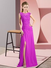 Chic Floor Length Zipper Homecoming Dress Fuchsia for Prom and Party and Military Ball with Beading,Silhouette: Column/SheathNeckline: scoopSleeve Length: sleevelessHemline/Train: floor lengthBack Detail: zipperEmbellishment: beadingFabric: chiffonShown Color: fuchsia(Color & Style representation may vary by monitor.)Occasion: prom,party,military ballSeason: spring,summer,fall,winterFully Lined: YesBuilt-In Bra: Yes