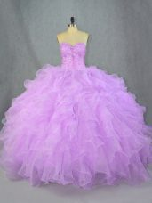Lavender Sleeveless Beading and Ruffles Floor Length Quince Ball Gowns